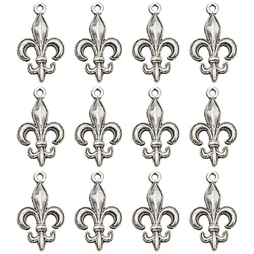 Monrocco 100 Pcs Antique Silver Fleur De Lis Charms Pendant Bulk for Bracelets Jewelry Making Crafts