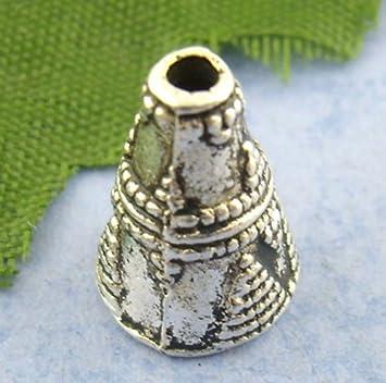 Housweety 60PCs Silver Tone Cone End Bead Caps 119mm HOUSWEETYB01089