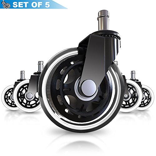 Office Chair Caster Wheels, Set of 5 Heavy Duty Safe Replace Rubber Chair Casters for All Floors Including Hardwood, 3'' Office Chair Wheels Perfect Replacement for Desk Floor Mat