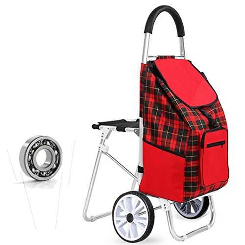 LUCKYYAN Red Shopping Grocery Foldable Cart with Seat, Aluminum Alloy Trolley for Daily Supermarket Shopping