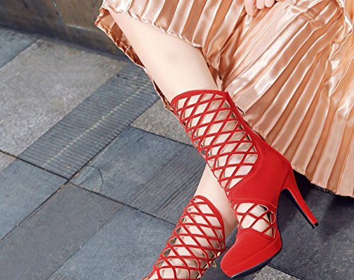 Waterproof Sandals Mesh Hollow Black Boots Red Heels Shoes High SHINIK Women's Heels Blue Red Suede qxpCn8w