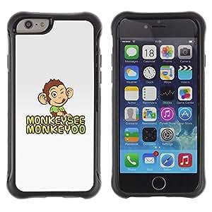 All-Round híbrido Heavy Duty de goma duro caso cubierta protectora Accesorio Generación-II BY RAYDREAMMM - Apple iPhone 6 PLUS 5.5 - Monkey See Do Happy Grey Cute Drawing