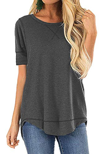 Womens Long Sleeve Round Neck T Shirts Solid Casual Blouses Tops(Gray,XL)