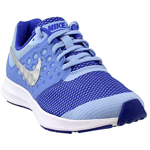 Nike Girl's Downshifter 7 (GS) Running Shoe Aluminum/Metallic Silver/Paramount Blue Size 6 M US (Girls Nike Sneakers)