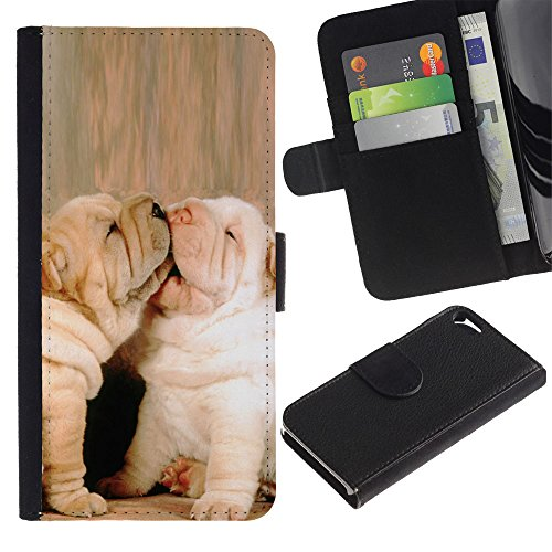 OMEGA Case / Apple Iphone 5 / 5S / French bulldog baby puppy kiss love / Cuir PU Portefeuille Coverture Shell Armure Coque Coq Cas Etui Housse Case Cover Wallet Credit Card