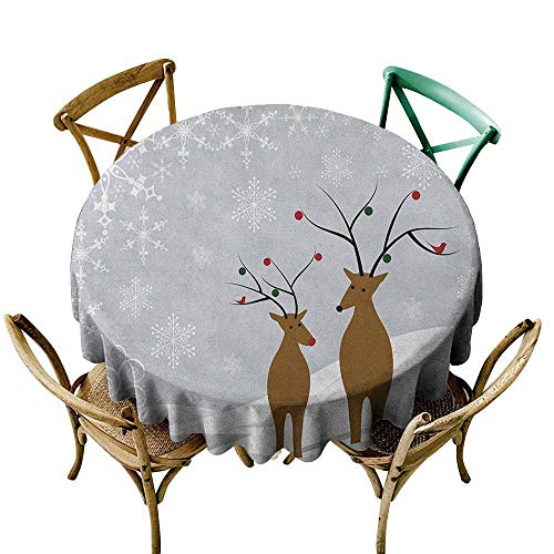 Sunnyhome Washable Round Tablecloth Christmas Cute Reindeers at Noel Time Yule with Snowflakes in Winter Santa Print Brown Pale Grey White Party Decorations Table Cover Cloth 70 INCH ()
