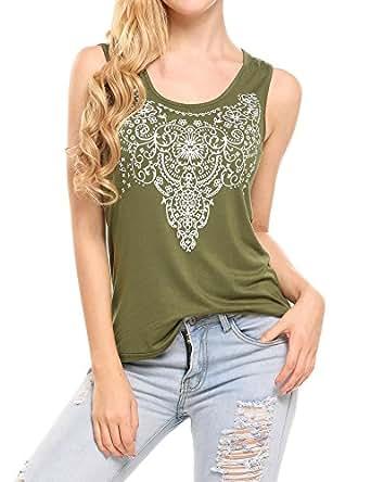 Soteer Women's Summer Sleeveless Street Printed T Shirt Tank Tops Graphic Tees ArmyGreen S