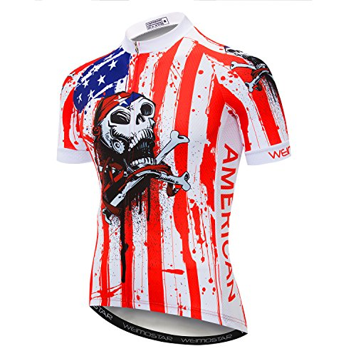 - Cycling Jersey Men Mountain Bike Jersey Biking Shirt Jacket 2019 Short Sleeve Top MTB Clothing USA Flag Pirate Skull Size XXL