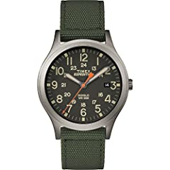 A mid-size update to our well-crafted field watch, this 36mm Scout design gives you rugged metal construction, a comfortable green nylon strap, twelve or twenty-four hour military time markings and our signature arrow second hand.