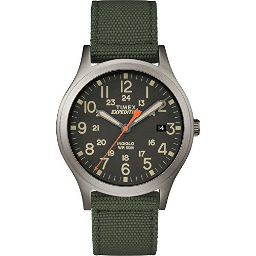 Timex Unisex TW4B13900 Expedition Scout 36 Green/Black Nylon Strap Watch - Hour Dial Green Nylon Strap