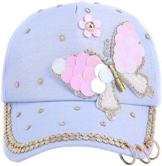 HUOLIMAO Verano Mujer Lentejuelas Brillante Bling Mariposa Enarbolada Sombrero Sombrero Tachonado Rhinestone Perla Gorra De Béisbol De Algodón