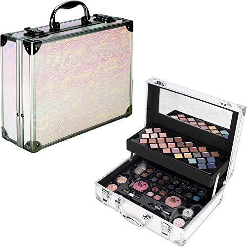 Ver Beauty Ver Beauty 58pcs Makeup Gift Set Kit Train Case Eyeshadow Shimmer Blush Bronzer With Mirror - Vmk1106, Snake Pastel