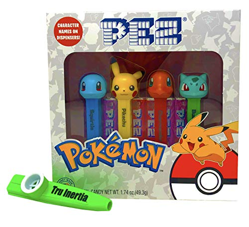 Pez Pokemon Candy and Dispensers Gift Set with Tru Inertia Kazoo - Pikachu, Charmander, Bulbasaur, Squirtle
