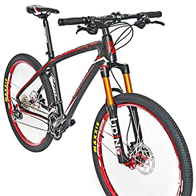 BEIOU® Carbon Fiber Mountain Bike Hardtail MTB 10.65 kg SHIMANO M610 DEORE 30 Speed Ultralight Frame RT 26-Inch Professional Internal Cable Routing Toray T800 Carbon Hubs Matte CB025A