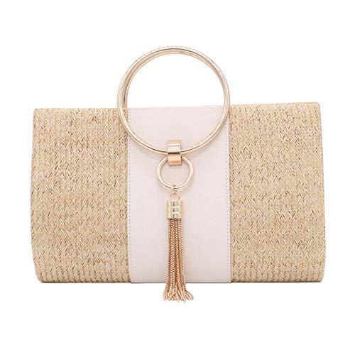 Straw Clutch Handbag, Women Straw Tote Purse Envelope Bag Wallet Summer Woven Beach Bag (Yellow) ()