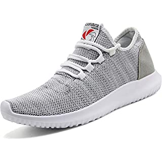 CAMVAVSR Men's Running Shoes Fashion Slip on Lightweight Breathable Mesh Soft Sole Athletic Sneakers for Young Men Gray Size 12.5
