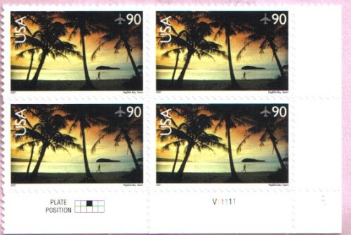 2007 Hagatna Bay Airmail #C143a Plate Block of 4 x 90cents US Postage Stamps Airmail Plate Block