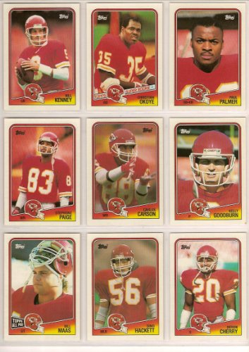 Kansas Metropolis Chiefs 1988 Topps Football Team Set***Mike Bell, Carlos Carson, Deron Cherry, Kelly Goodburn, Dino Hackett, Note Kenney, Bill Maas, Christian Okoye, Stephone Paige and Paul Palmer