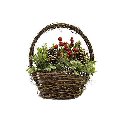 Northlight Pine Cones Berries and Boxwood in Twig Basket Christmas Tabletop Decoration, 12