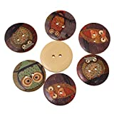 HOUSWEETY 50PCs Wooden Buttons Owl Cartoon Pattern Fashion 2-hole Sewing Scrapbook DIY