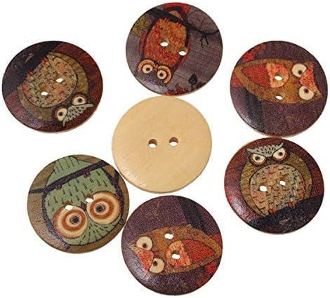 HOUSWEETY ミックス 丸型 ウッドボタン 可愛い フクロウ模様 木製ぼたん 縫製 手芸材料 手作り アクセサリーパーツ 30mm 50個入り