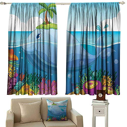 Rod Pocket Blackout Drapes ,Cartoon Decor Collection Dolphin with a Tiny Tree on His Head in the Water with Sea Plants Cartoon Art,Darkening and Thermal Insulating Draperies,W55x39L Inches,Blue Green