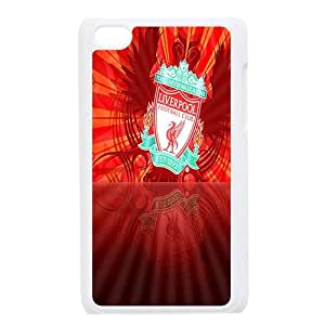 The Reds,Liverpool Football Club FC Personalized IPod Touch 4/4G/4th Generation Hard Plastic Shell Case Cover White&Black(HD image)