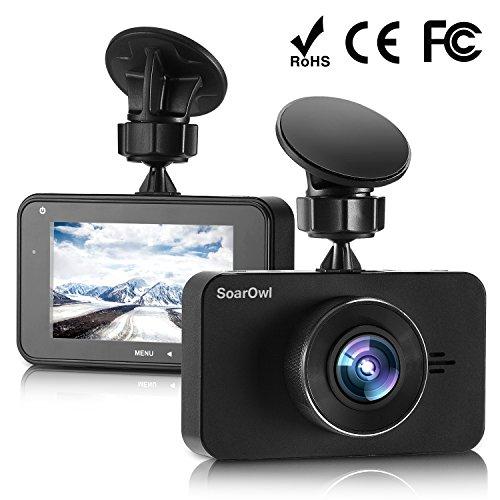 "SoarOwl Dash Cam 1296P IPS LCD Dual Lens Car Dashboard Camera Recorder 3.0"" Screen Car DVR Vehicle with Sony Sensor 6G Lens, 170 Degree Wide Angle, G-Sensor, WDR, Night Vision, Loop Recording"