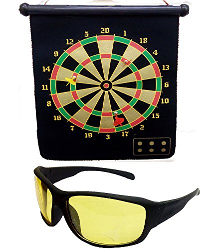 HRINKAR Foldable Magnetic Dart Board For Indoor Entertainment With 4 Darts Size 380 X 320 Mm + - Dartboard Sunglasses