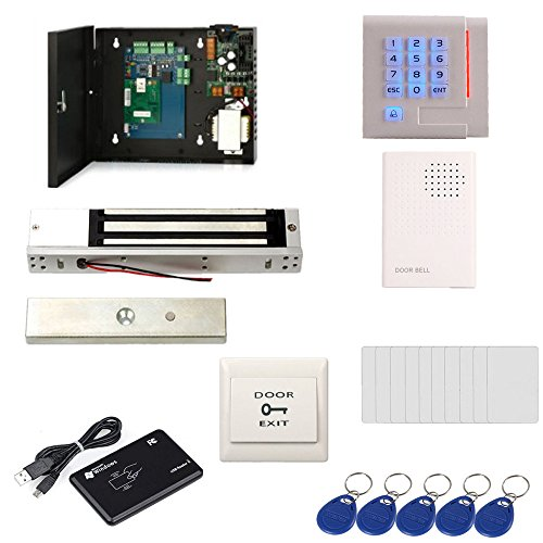 Single Door Computerized Prox Reader Access Control System Kit ID Card USB Reader Magnetic Lock Power Supply Box RFID Keypad Reader/Keychains /Cards by MENGQI-CONTROL