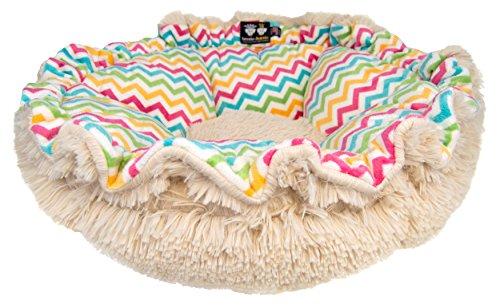 BESSIE AND BARNIE Ultra Plush Ocean Wave/Blondie (Patch) Luxury Shag Deluxe Dog/Pet Cuddle Pod Bed