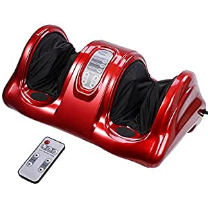 Aw Kneading Rolling Foot Leg Massager Calf w/ Remote Control Personal Home Health Care Tool Red