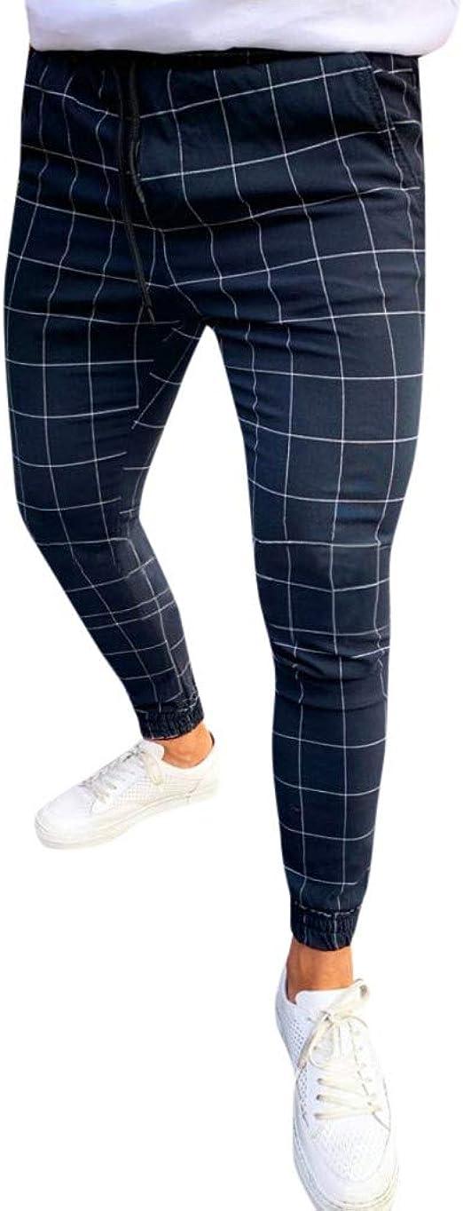 メンズカジュアルパンツ ズボン チェック柄プリント巾着弾性ウエストロングパンツズボン