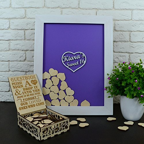 Sweet Sixteen Guest Book Sweet Sixteen Birthday Guest Book Decorations Sweet Sixteen Gifts Sweet 16 Guest Book Sweet 16 Decoration 40x50 CM With 150 Pcs Wooden Hearts