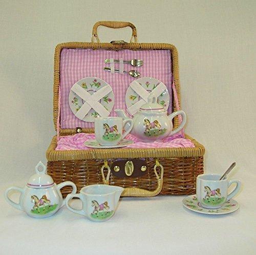 Delton Products Pony Porcelain Tea Set in Basket, Large
