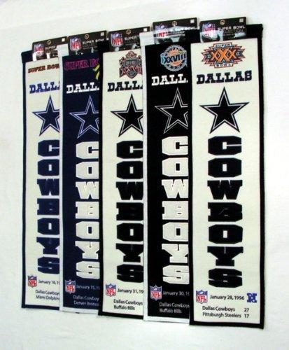 Winning Streak Dallas Cowboys Super Bowl VI XII XXVII XXVIII XXX Championship 8x32 Banner SET