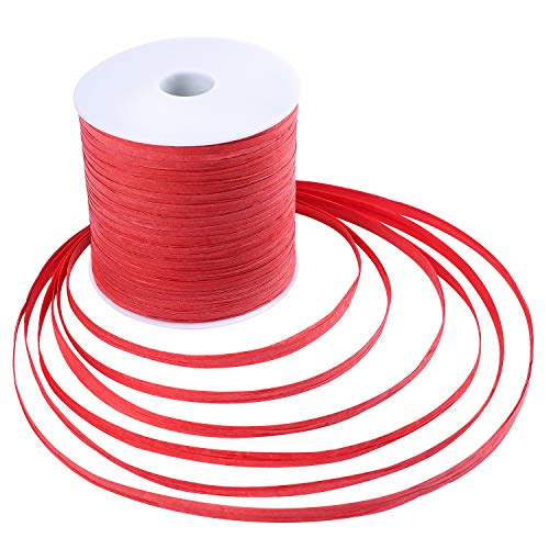 Whaline 229 Yards Raffia Paper Ribbon Craft Packing Paper Twine for Festival Gifts, DIY Decoration and Weaving, 1/4 inch Width (Red)