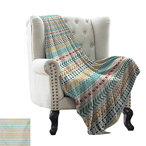 LsWOW Baby Month Blanket Striped,Ethnic Cultural Striped Boho Motif Traditional Southwestern First Nations Artisan Design,Multi Comfortable Soft Material,give You Great Sleep 30