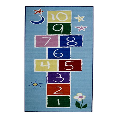 Hopscotch Primary Rug (Fun Rugs Fun Time Collection Home Kids Room Decorative Floor Area Rug Primary Hopscotch -19