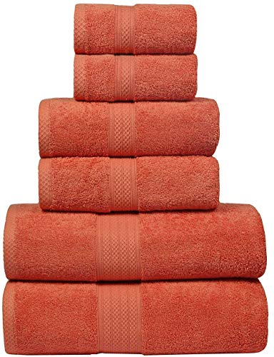 Bath Towels in 100% Ring Spun Combed Cotton With Luxurious & Ultra Soft,Highly Absorbent,Bathroom Towels,Bath Towel Set,Bath Towel Cotton,Bath towel- 27x54-Orange (Set of 6 (Orange Bath Set)