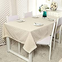 "YJ Bear Cotton Linen Floral Flower Printed Washable Rectangle Tablecloth Desk Cover Table Cover for Home Decoration Table Cloth for Dinner with Lace 55"" X 86.6"""