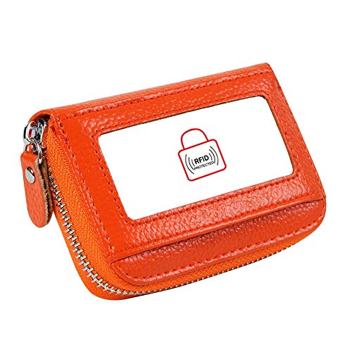 - Women's RFID Blocking 12 Slots Credit Card Holder Leather Accordion Wallet,orange