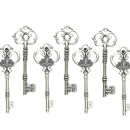 Makhry Mixed Set of 20 Extra Large Antique Silver Finish Skeleton Keys in Antique Style - Set of 20 Keys (Silver)