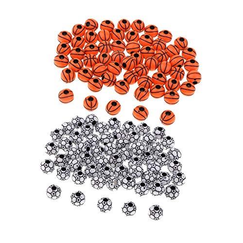 SM SunniMix 120Pcs Football Basketball Loose Bead Sports Beads for DIY Jewelry Making -