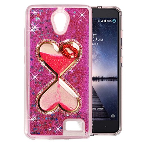 QKKE [Wine Glass Diamond Series] 3D Glitter Bling Hearts Flowing Liquid Star Clear Hard Case for ZTE Prestige N9132/Avid Plus Z828/Maven 2 Z831/Sonata 3 Z832/Chapel/Avid Trio (Hourglass Lip/Hot Pink) ()