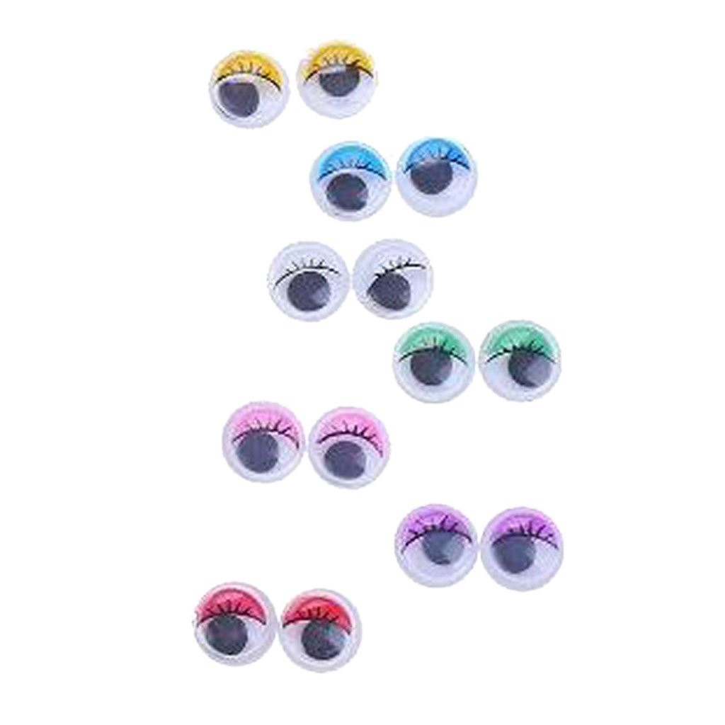 MagiDeal Mixed Color Wiggly Wobbly Googly Eyelash Eyes Scrapbooking Crafts 8mm