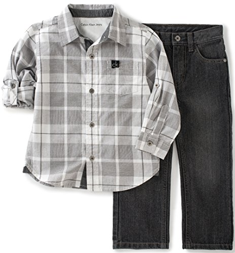 Calvin Klein Baby Shirt and Jeans Pants Set, Gray, 24 Months (Joker Jeans)