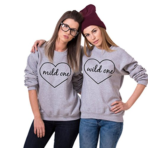Honey Girlfriend Sweater, Egmy 1PC Newest Sweet Mild One Wild One BFF Sweatshirts Best Friend Matching Pullover Tops Blouse (M, Wild One) ()