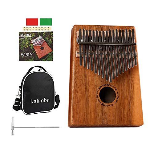 Case Music Book - Westmell Acacia Koa Wood Kalimba Thumb Piano 17 Keys with Locking Keys Mbira thumb Finger Piano- Include Kalimba Piano Case Bag, Music Song Book, Tuning Hammer