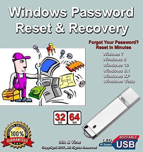 (Windows Password Reset Recovery USB for Windows 10, 8.1,8, 7, Vista, XP in 32-64 bit. #1 Best Unlocker Software Tool For All PCs and Laptops)